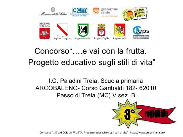 """<ul><li>Concorso""""….e vai con la frutta.  </li></ul><ul><li>Progetto educativo sugli stili di vita"""" </li></ul>I.C. Paladini..."""