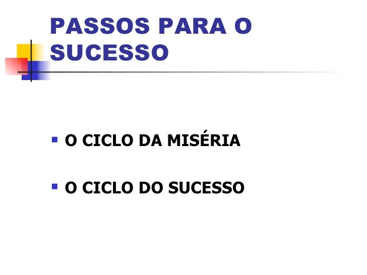 PASSOS PARA OSUCESSO   O CICLO DA MISÉRIA   O CICLO DO SUCESSO