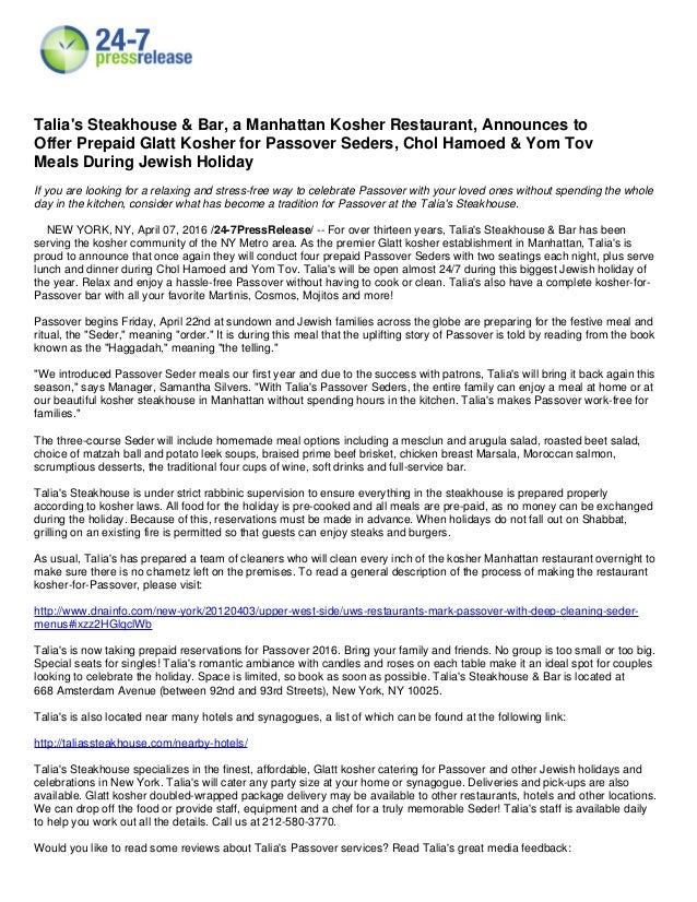 Talia S Kosher Restaurants Nyc Thanksgiving 2016 Kosher Meals