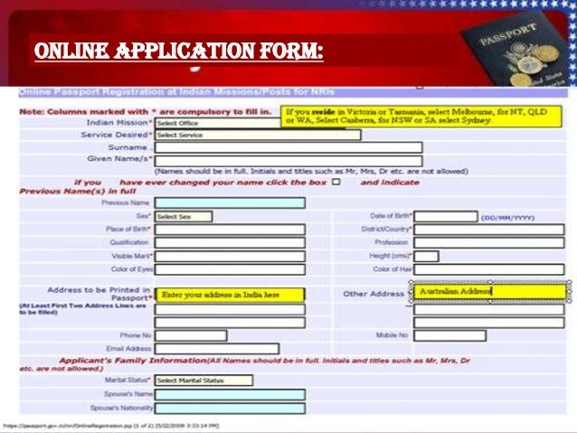 online application for fresh passport