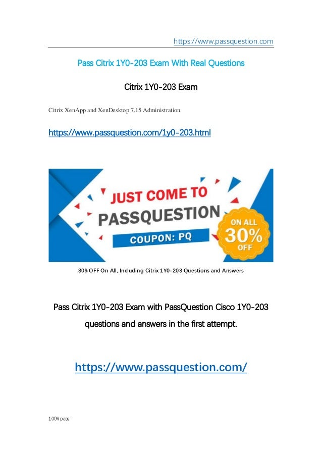 Passed! Free download Passquestion 1y0-203 real questions | 1y0-203 d…