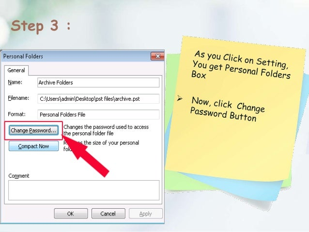 how to set password to outlook 2007