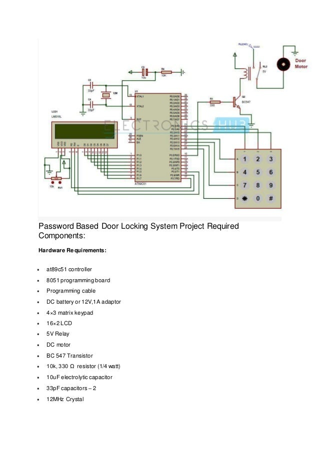 password based door lock system using 8051 microcontroller final repo rh slideshare net
