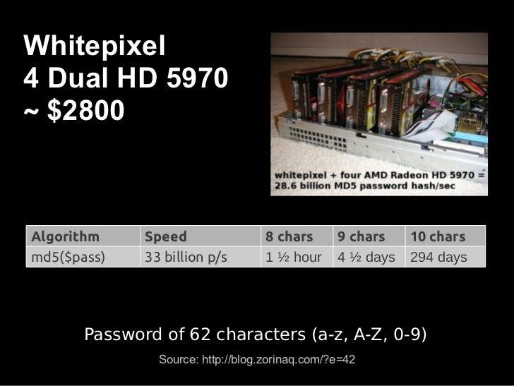 Secure algorithms for         password storing●Hash + salt + stretching (i.e. PBKDF2)● bcrypt● scrypt