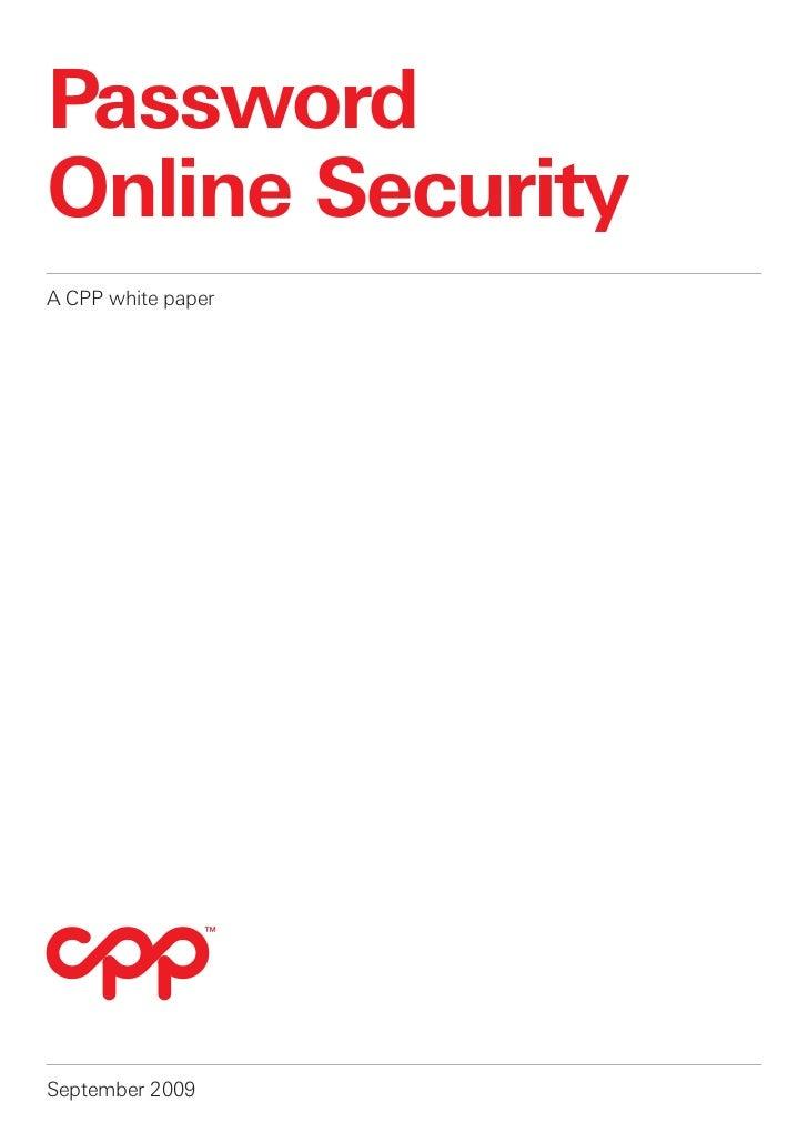 PasswordOnline SecurityA CPP white paperSeptember 2009