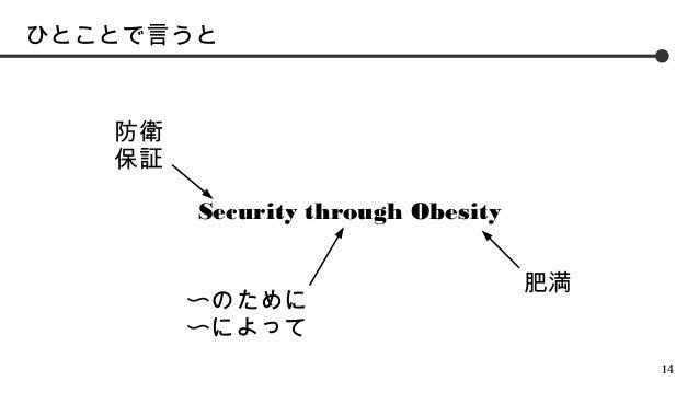 ひとことで言うと  防衛 保証 Security through Obesity 〜のために 〜によって  肥満  14