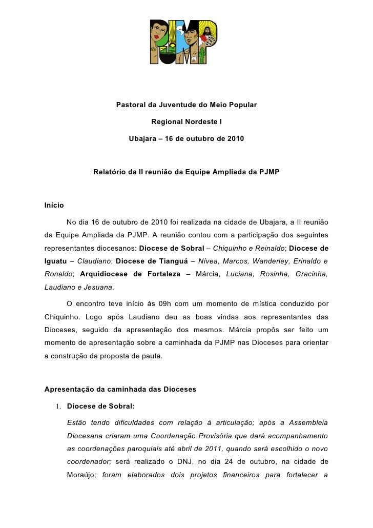Pastoral da Juventude do Meio Popular                                   Regional Nordeste I                             Ub...