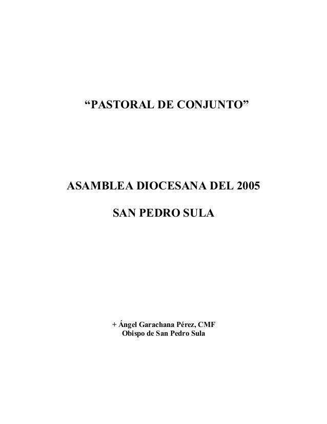 """""""PASTORAL DE CONJUNTO""""  ASAMBLEA DIOCESANA DEL 2005 SAN PEDRO SULA  + Ángel Garachana Pérez, CMF Obispo de San Pedro Sula"""
