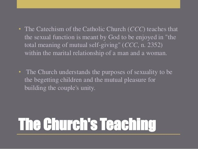 The catholic churches point of view on masturbation