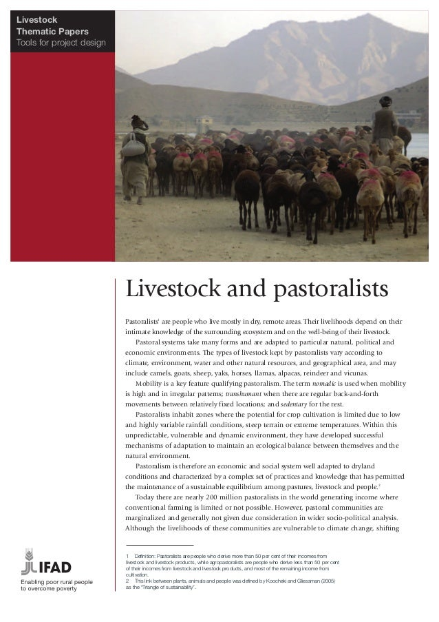 LivestockThematic PapersTools for project design                           Livestock and pastoralists                     ...