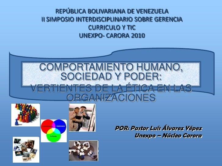 REPÚBLICA BOLIVARIANA DE VENEZUELAII SIMPOSIO INTERDISCIPLINARIO SOBRE GERENCIACURRICULO Y TICUNEXPO- CARORA 2010<br />COM...