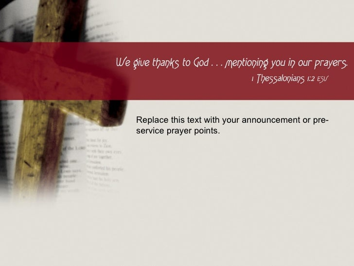 Replace this text with your announcement or pre-service prayer points.