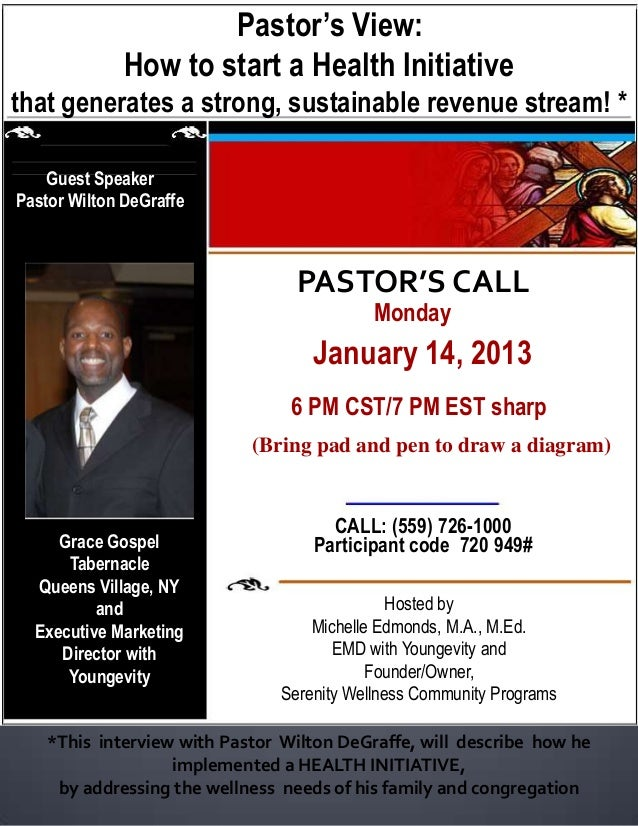 Pastor's View:              How to start a Health Initiativethat generates a strong, sustainable revenue stream! *    Gues...