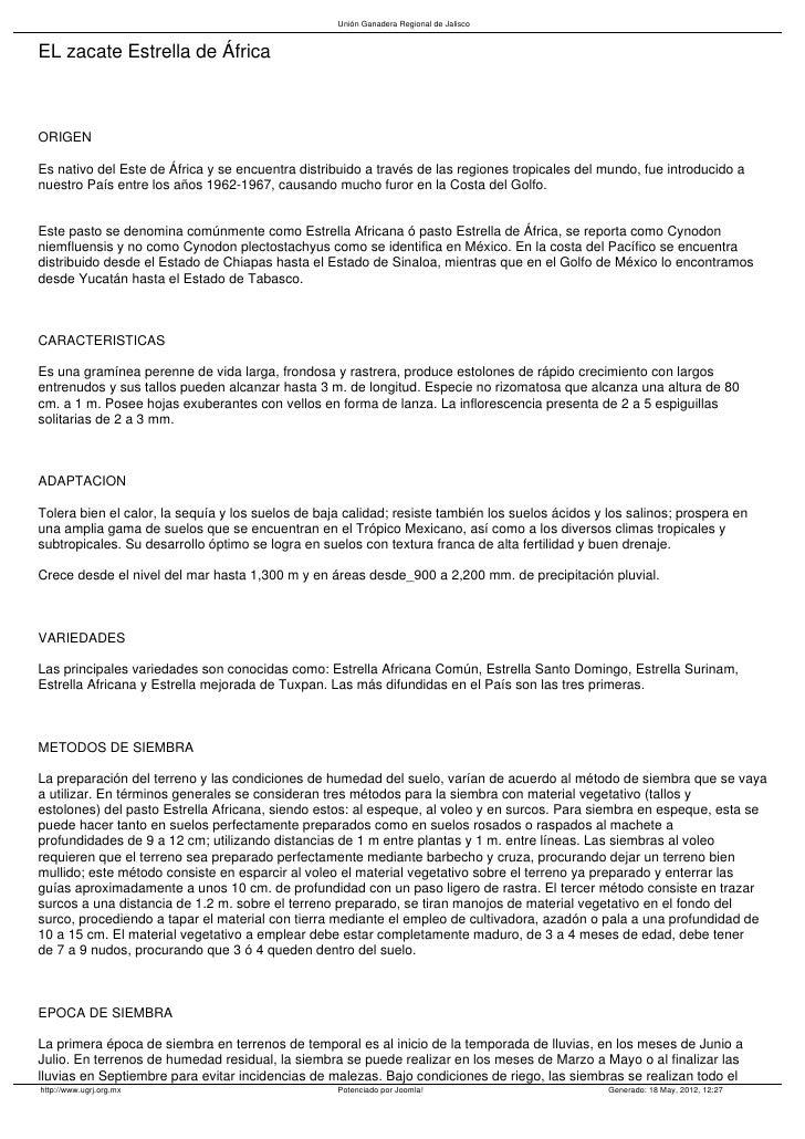 Unión Ganadera Regional de JaliscoEL zacate Estrella de ÁfricaORIGENEs nativo del Este de África y se encuentra distribuid...