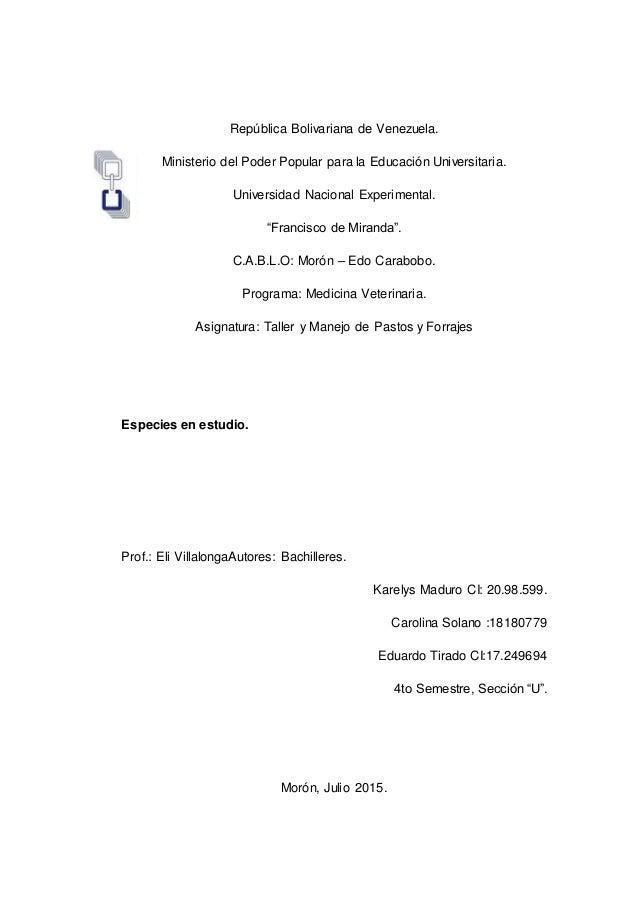 República Bolivariana de Venezuela. Ministerio del Poder Popular para la Educación Universitaria. Universidad Nacional Exp...