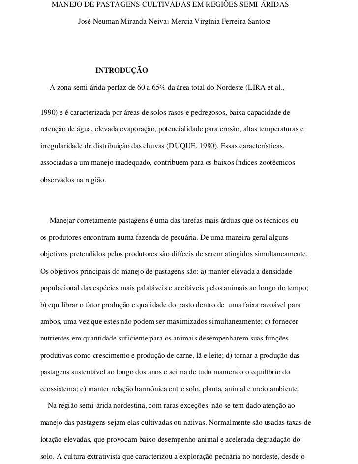 MANEJO DE PASTAGENS CULTIVADAS EM REGIÕES SEMI-ÁRIDAS            José Neuman Miranda Neiva1 Mercia Virgínia Ferreira Santo...