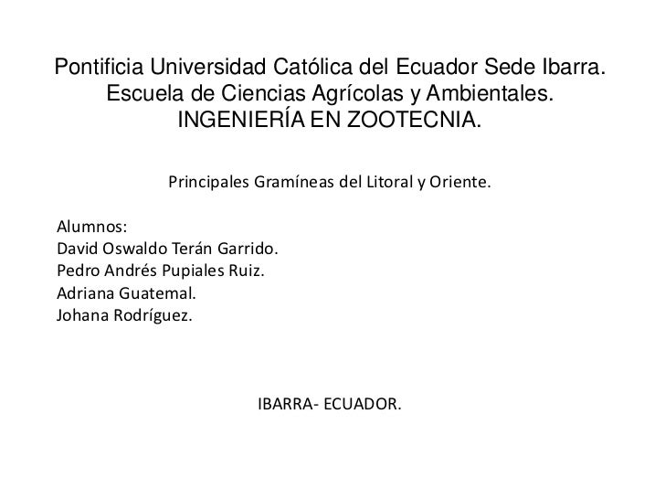 Pontificia Universidad Católica del Ecuador Sede Ibarra.     Escuela de Ciencias Agrícolas y Ambientales.             INGE...