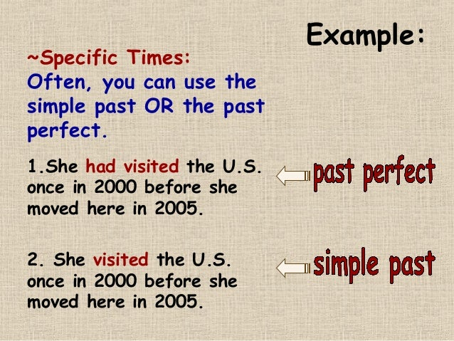 Past Perfect Past Simple