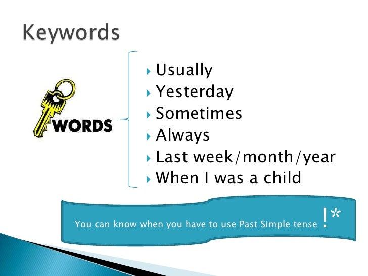 Αποτέλεσμα εικόνας για past simple keywords