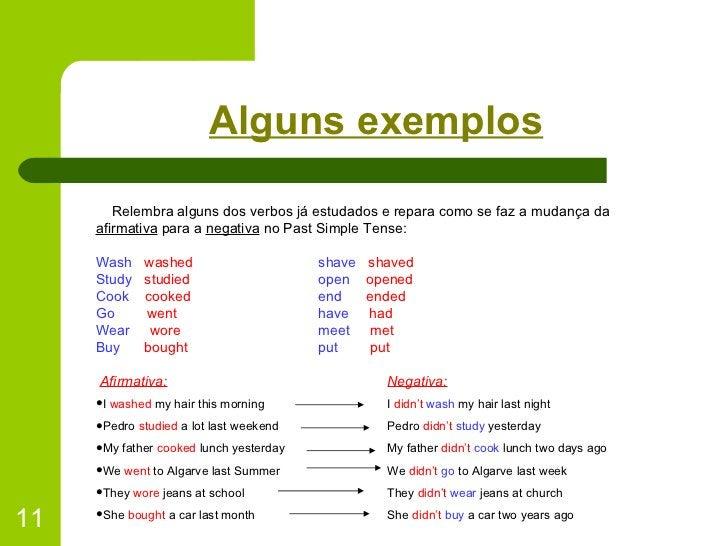 Alguns exemplos <ul><li>Relembra alguns dos verbos já estudados e repara como se faz a mudança da  afirmativa  para a  neg...