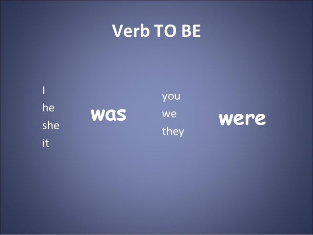 Verb TO BE I he she it you we they was were