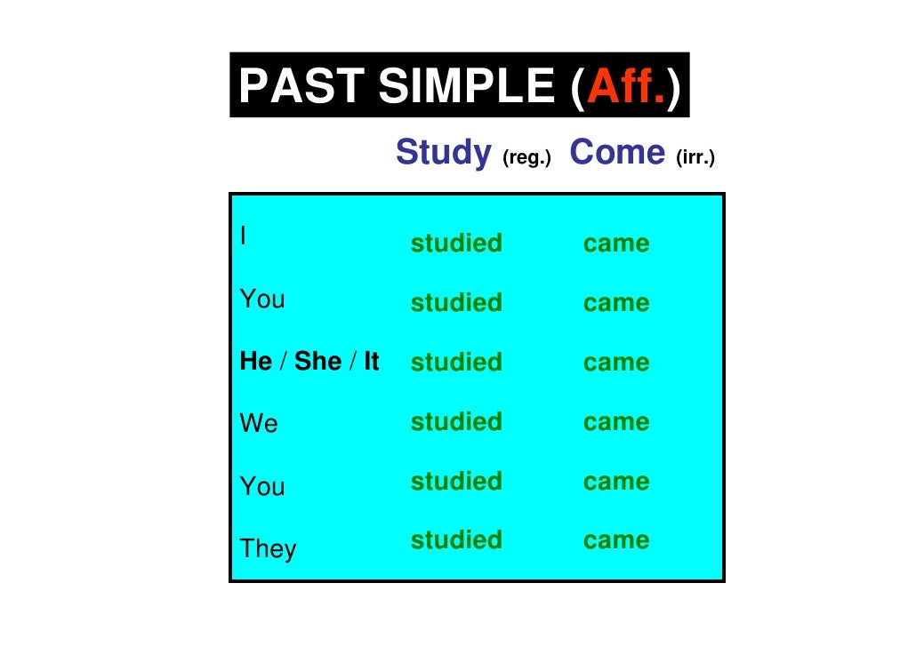 PAST SIMPLE (Aff.)                 Study (reg.) Come (irr.)  I                studied      came  You              studied ...