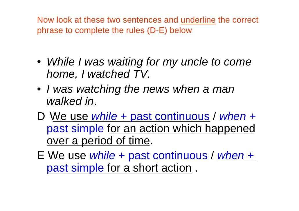 Past Simple, Past Continuous And Past Perfect