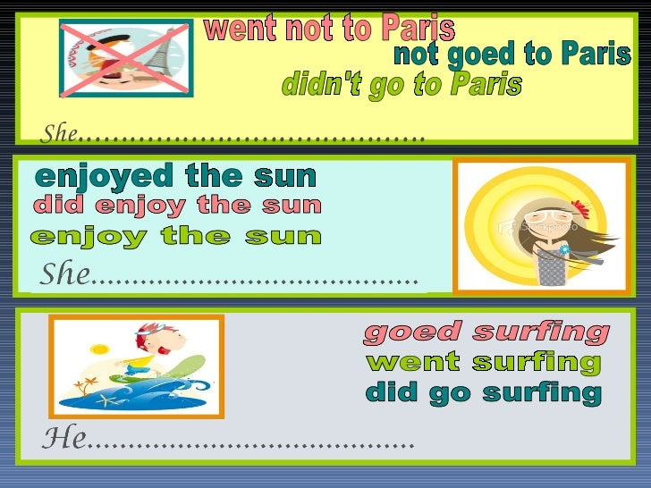 didn't go to Paris enjoyed the sun went surfing went not to Paris not goed to Paris She .....................................