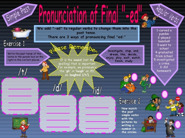 """Pronunciation of Final """"-ed"""" We add  """" -ed """"  to regular verbs to change them into the past tense. There are 3 w..."""