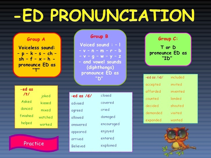 "Group A  Voiceless sound: – p – k – s – ch – sh – f – x – h - pronounce ED as ""T""  Group B  Voiced sound : – l – v – n – m..."