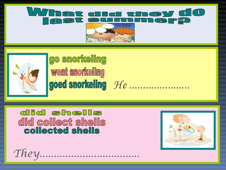 went snorkeling He ...................... What did they do last summer?