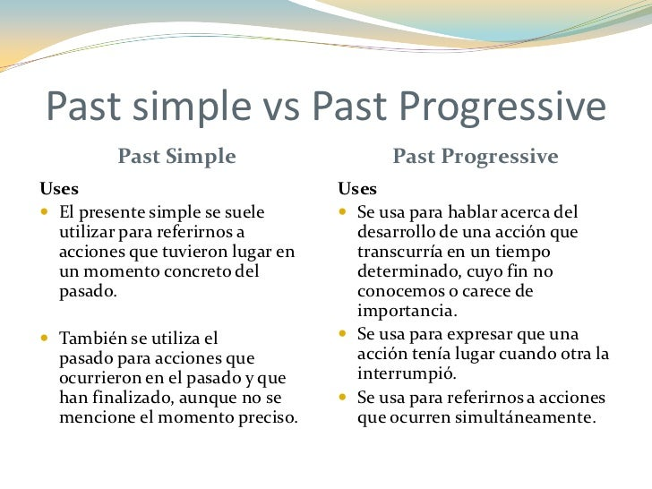 simple past vs past progressive Study and practise the differences between the past simple and past continuous.