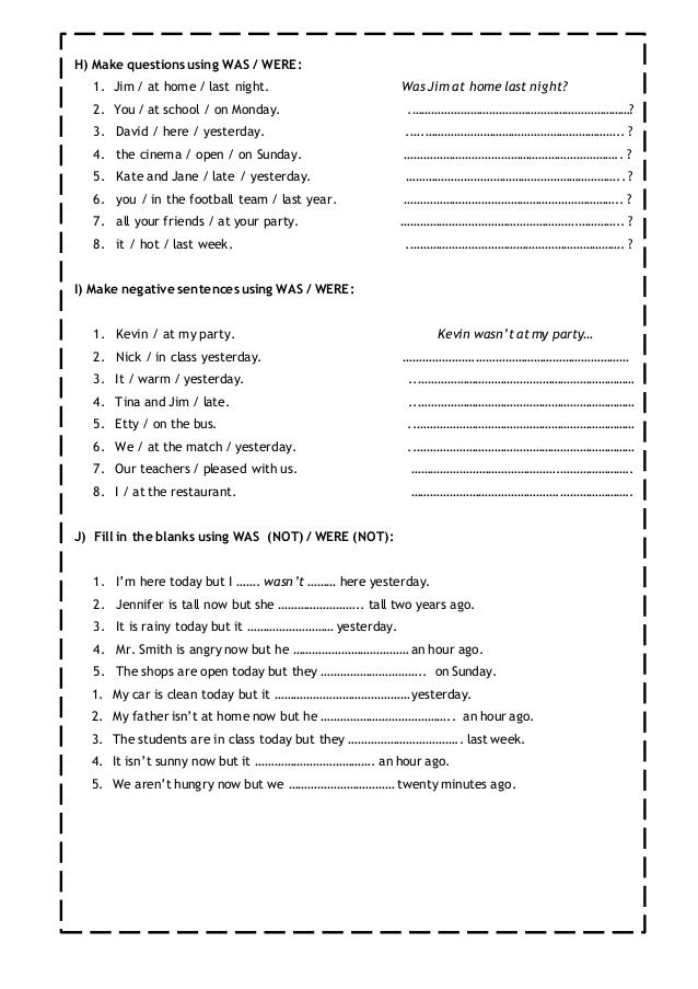 Printable Worksheets was and were worksheets for first grade : Past simple worksheet