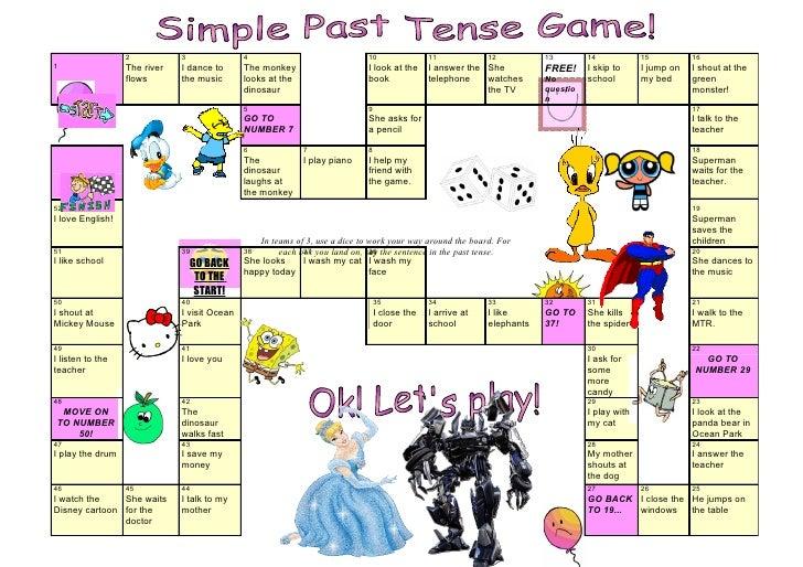 Tom S Tefl Past Tense Board Game