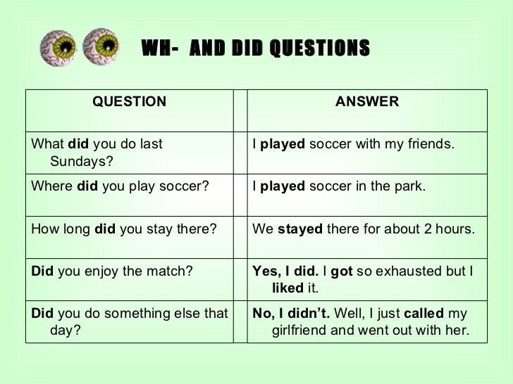 WH-  AND DID QUESTIONS QUESTION ANSWER What  did  you do last Sundays? I  played  soccer with my friends. Where  did  you ...