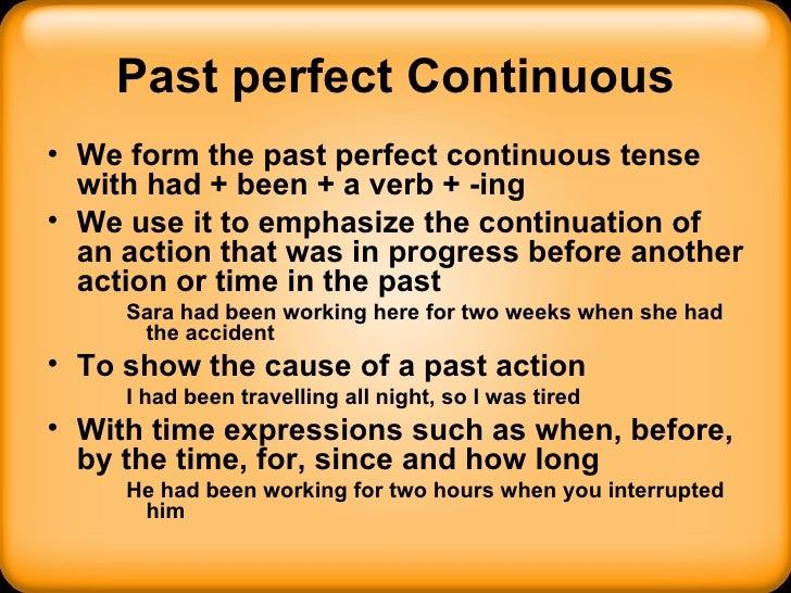 Past perfect continuous tense exercises pdf