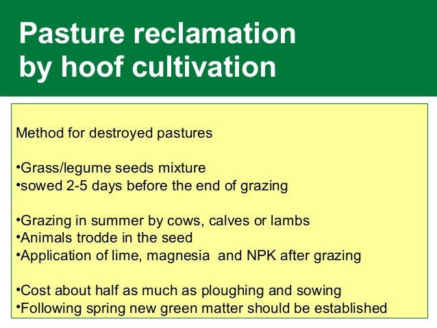 Pasture reclamation by hoof cultivation Method for destroyed pastures •Grass/legume seeds mixture •sowed 2-5 days before t...