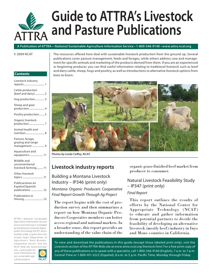 Guide to ATTRA's Livestock                                             and Pasture Publications    A Publication of ATTRA—...