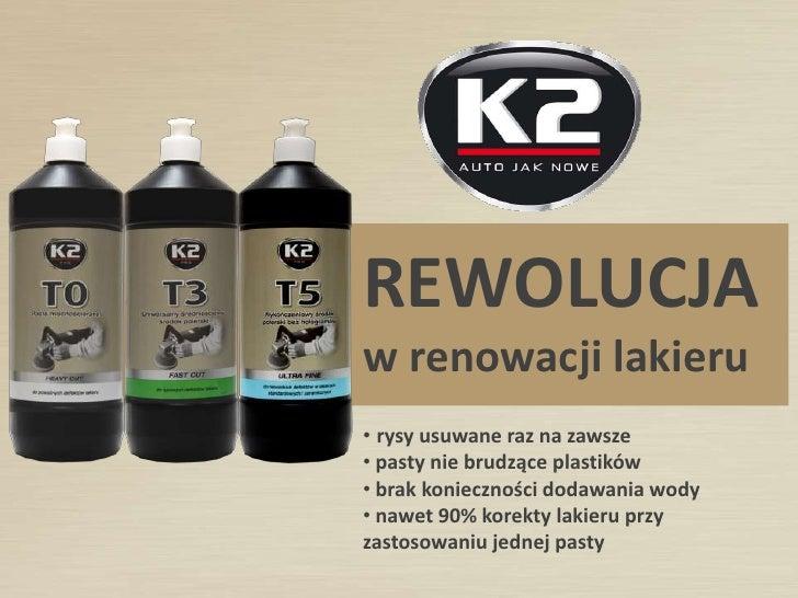 REWOLUCJAw renowacji lakieru• rysy usuwane raz na zawsze• pasty nie brudzące plastików• brak konieczności dodawania wody• ...
