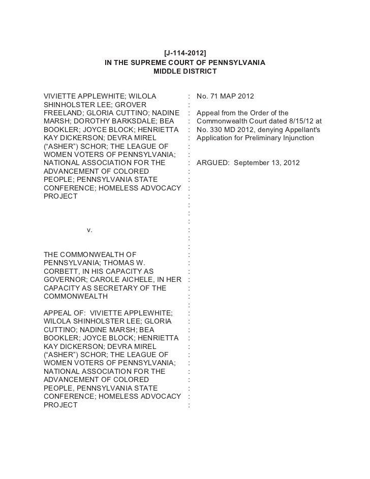 [J-114-2012]              IN THE SUPREME COURT OF PENNSYLVANIA                          MIDDLE DISTRICTVIVIETTE APPLEWHITE...