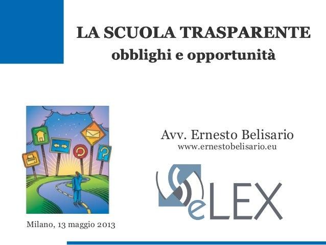 Avv. Ernesto Belisariowww.ernestobelisario.euMilano, 13 maggio 2013LA SCUOLA TRASPARENTEobblighi e opportunità