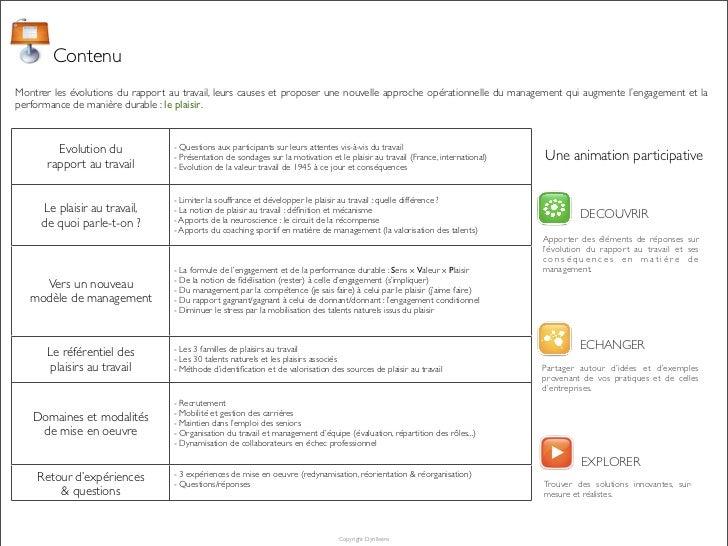 ContenuMontrer les évolutions du rapport au travail, leurs causes et proposer une nouvelle approche opérationnelle du mana...