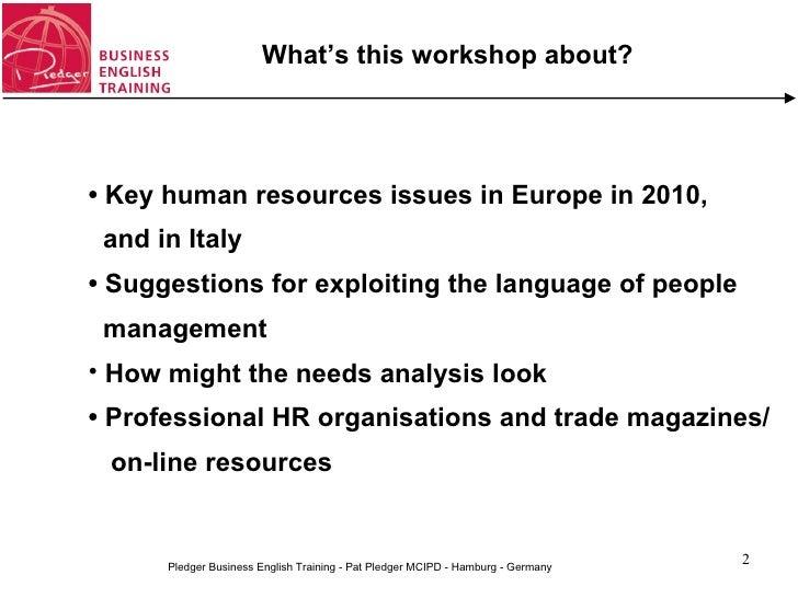 English for human resources management (workshop) Slide 2