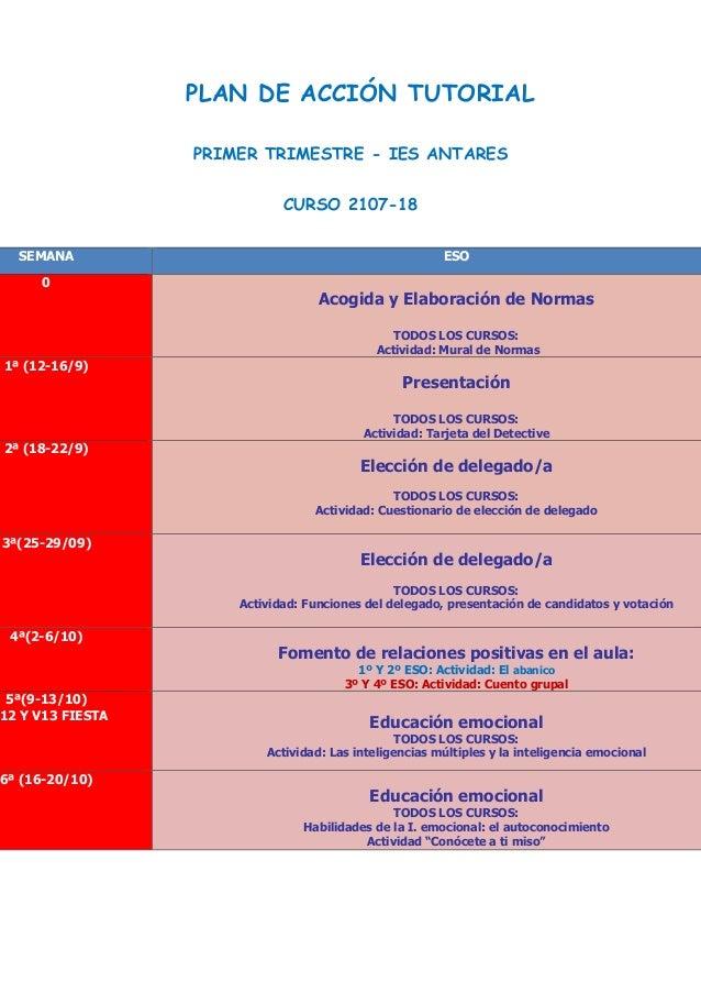 PLAN DE ACCIÓN TUTORIAL PRIMER TRIMESTRE - IES ANTARES CURSO 2107-18 SEMANA ESO 0 Acogida y Elaboración de Normas TODOS LO...