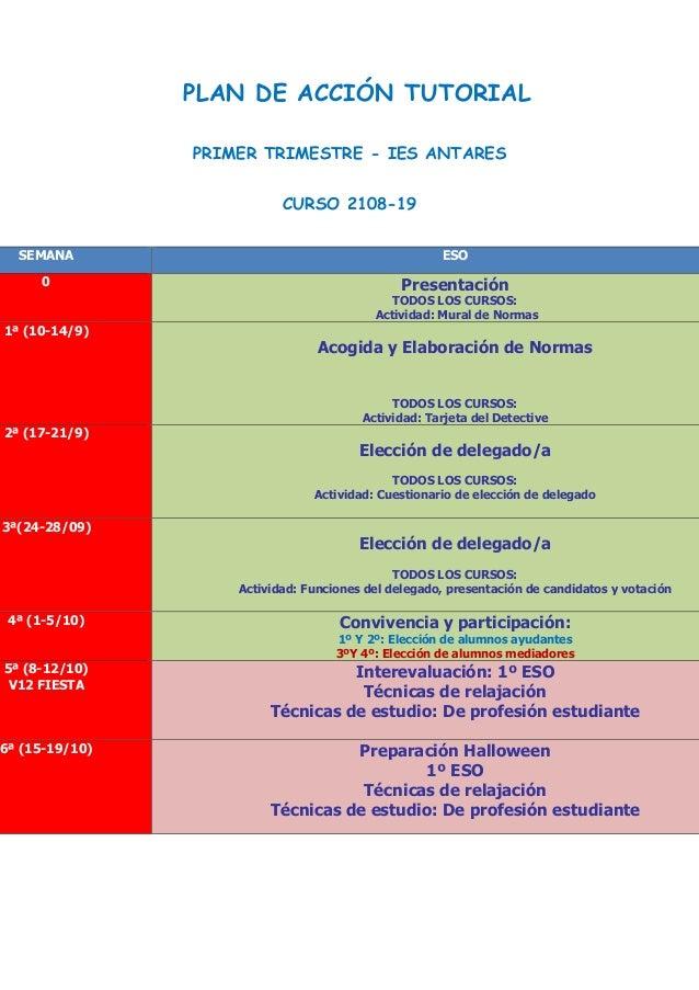 PLAN DE ACCIÓN TUTORIAL PRIMER TRIMESTRE - IES ANTARES CURSO 2108-19 SEMANA ESO 0 Presentación TODOS LOS CURSOS: Actividad...