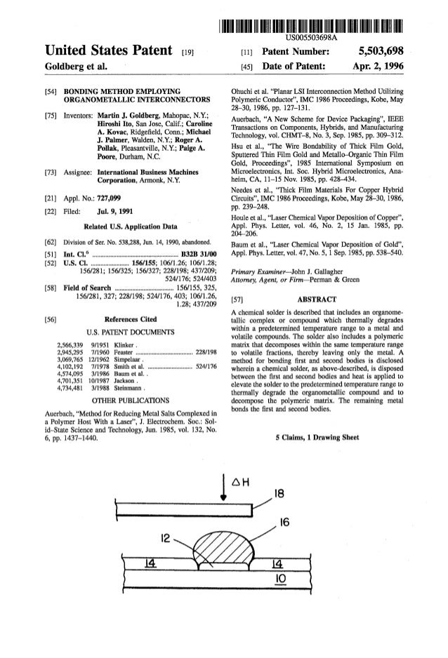 Bonding Method Employing Organometallic Inerconnectors (SuperConductivity Bonding Method) United States 5,503, 698 Pat5503698