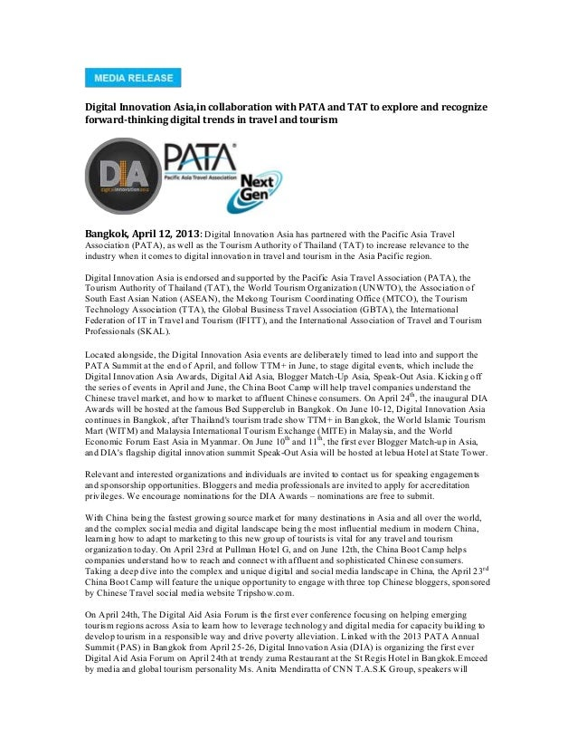 Digital Innovation Asia,in collaboration with PATA and TAT to explore and recognizeforward-thinking digital trends in trav...