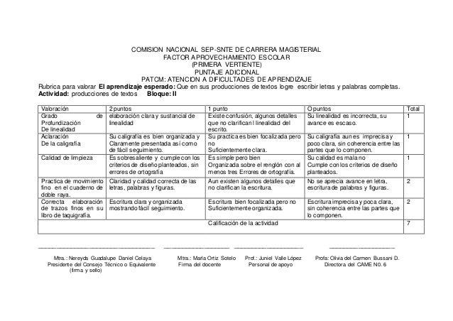 COMISION NACIONAL SEP-SNTE DE CARRERA MAGISTERIAL FACTOR APROVECHAMIENTO ESCOLAR (PRIMERA VERTIENTE) PUNTAJE ADICIONAL Rub...