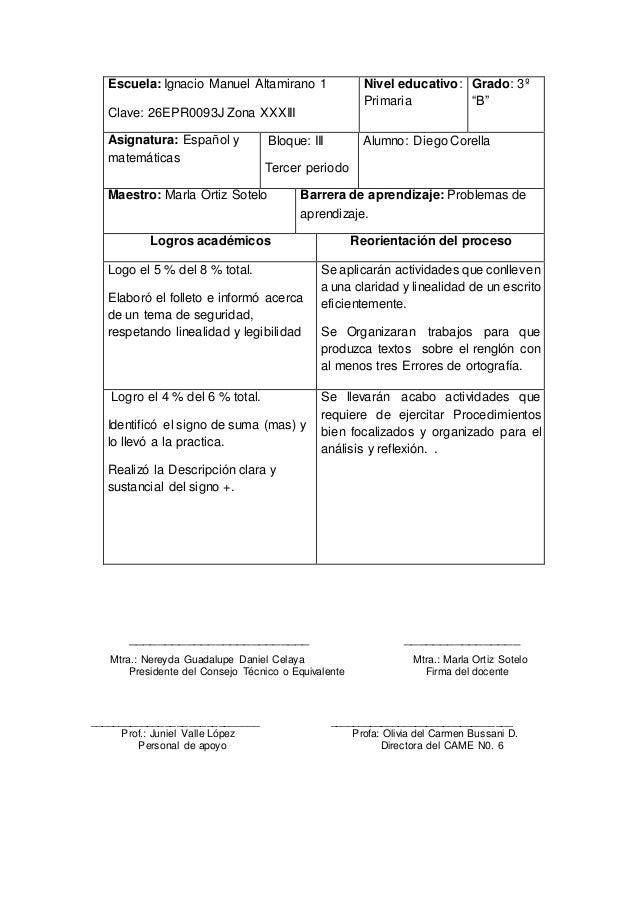 "Escuela: Ignacio Manuel Altamirano 1 Clave: 26EPR0093J Zona XXXIII Nivel educativo: Primaria Grado: 3º ""B"" Asignatura: Esp..."