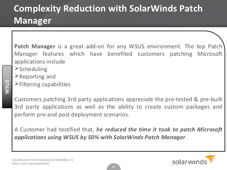 SolarWinds Patch Manager - How does it compare to WSUS Patch